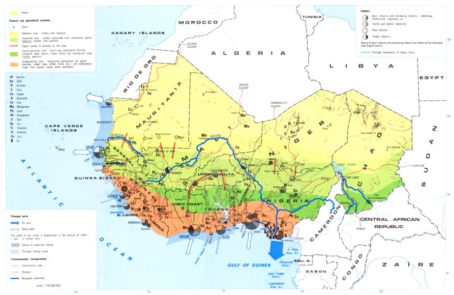 Associate Product WEST AFRICA. Economy industry trade farming agriculture resources 1973 old map