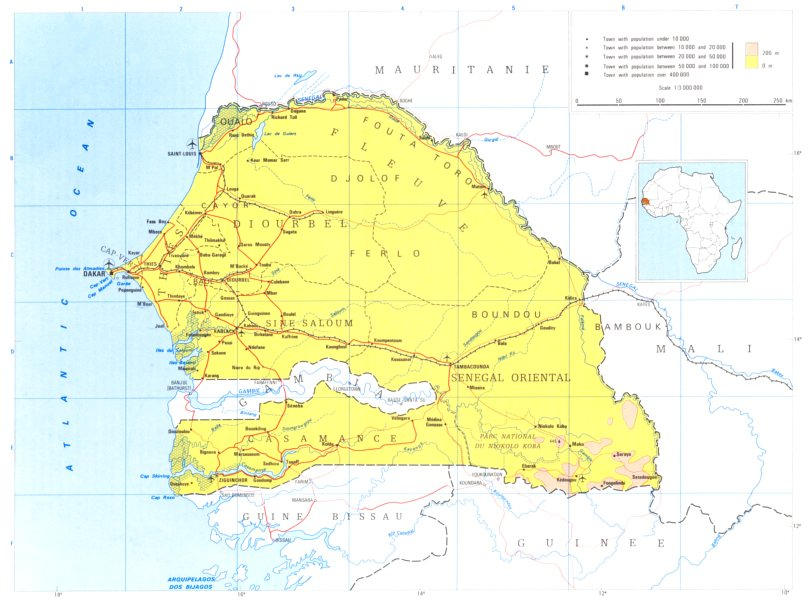 Associate Product SENEGAL. Senegal; Republic of Senegal 1973 old vintage map plan chart
