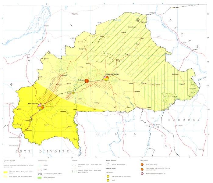 Associate Product BURKINA FASO. Upper Volta; Economy industry trade farming resources 1973 map