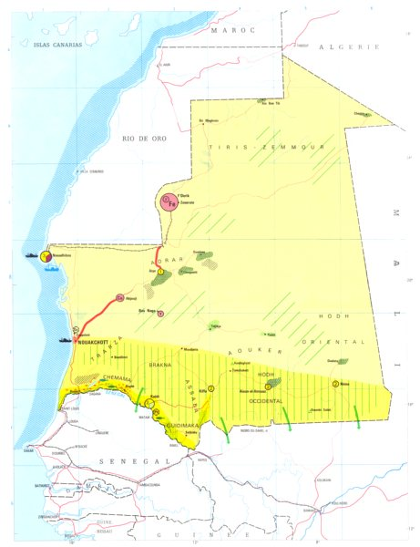 Associate Product MAURITANIA. Economy industry trade farming agriculture resources 1973 old map