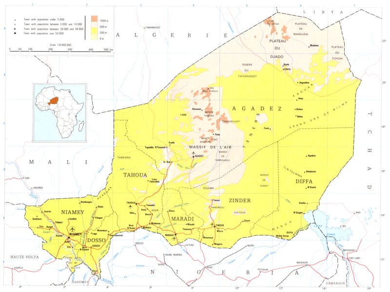 Associate Product NIGER. Niger; Republic of Niger 1973 old vintage map plan chart