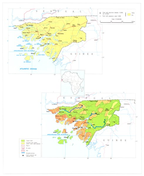 GUINEA-BISSAU. Economy industry trade farming agriculture resources 1973 map