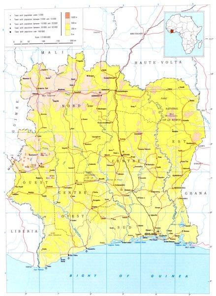 IVORY COAST. Côte d'Ivoire; Republic of Ivory Coast 1973 old vintage map chart