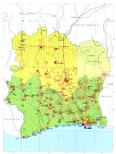 Associate Product IVORY COAST.  Economy industry trade farming agriculture resources 1973 map