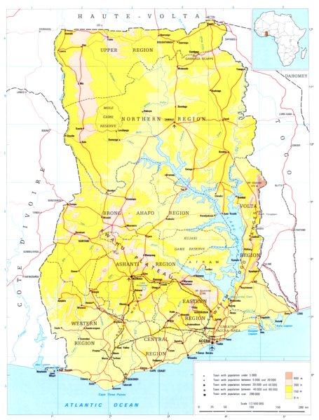 Associate Product GHANA. Ghana; Republic of Ghana 1973 old vintage map plan chart
