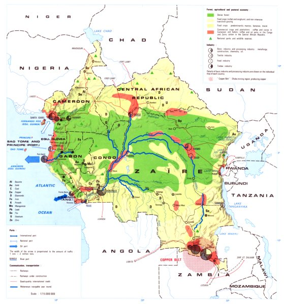 Associate Product CENTRAL AFRICA. Economy industry trade farming agriculture resources 1973 map