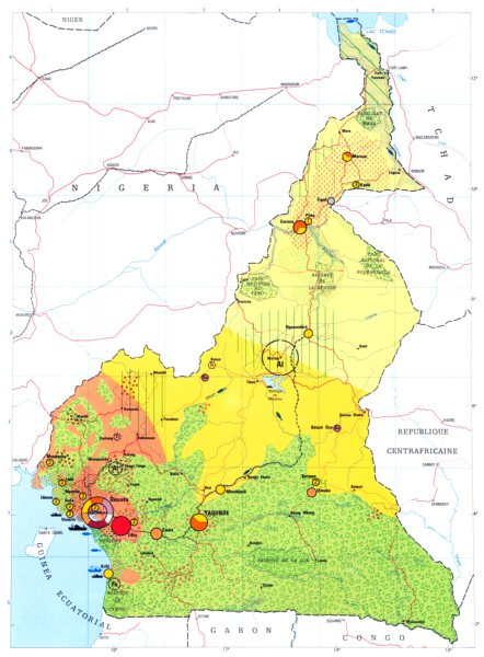 Associate Product CAMEROON. Economy industry trade farming agriculture resources 1973 old map
