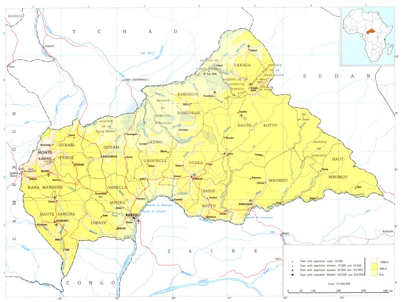 Associate Product CENTRAL AFRICAN REPUBLIC. Central African republic 1973 old vintage map chart