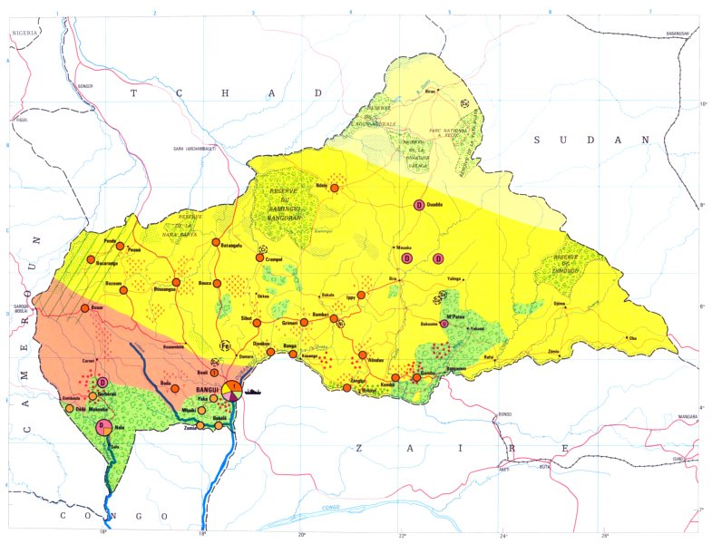 Associate Product CENTRAL AFRICAN REPUBLIC. Economy industry trade agriculture resources 1973 map