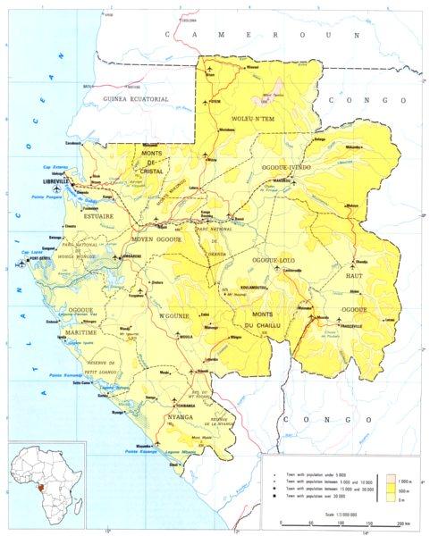 GABON. Gabon; Republic of Gabon 1973 old vintage map plan chart