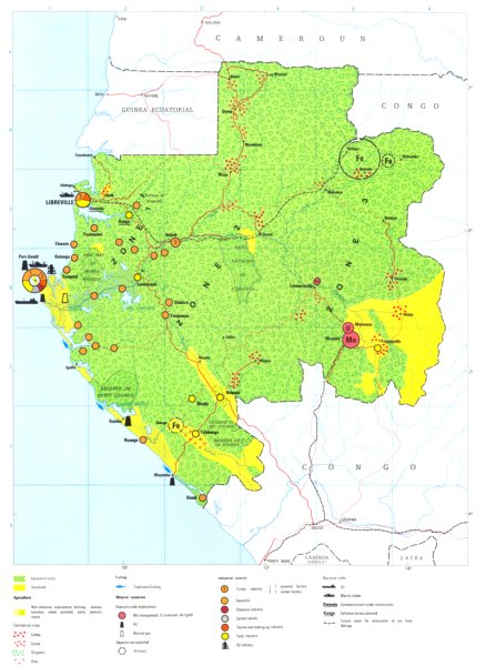 Associate Product GABON. Economy industry trade farming agriculture resources 1973 old map