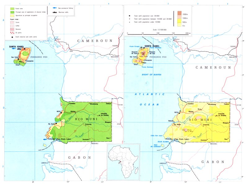 Associate Product EQUATORIAL GUINEA.Economy industry trade farming agriculture resources 1973 map