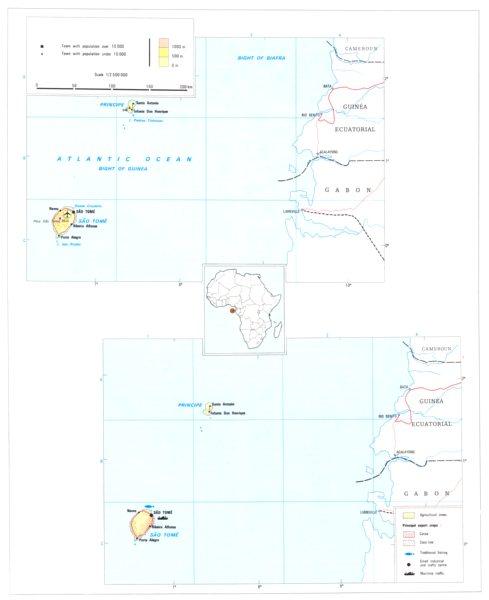 Associate Product SAO TOME. Sao Tome & Principe;  1973 old vintage map plan chart