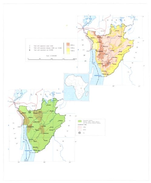 Associate Product BURUNDI. Economy industry trade farming agriculture resources 1973 old map