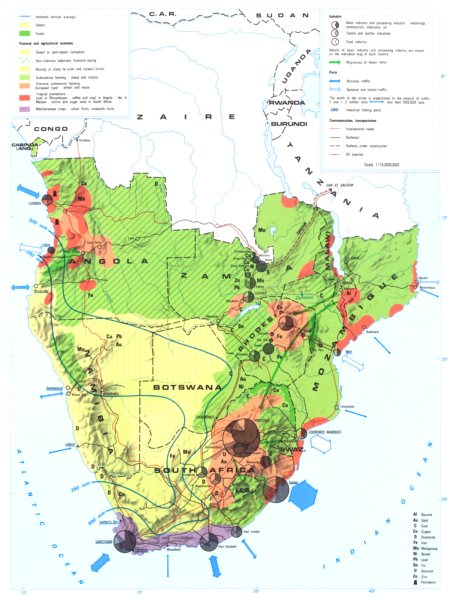 Associate Product SOUTHERN AFRICA. Economy industry trade farming agriculture resources 1973 map