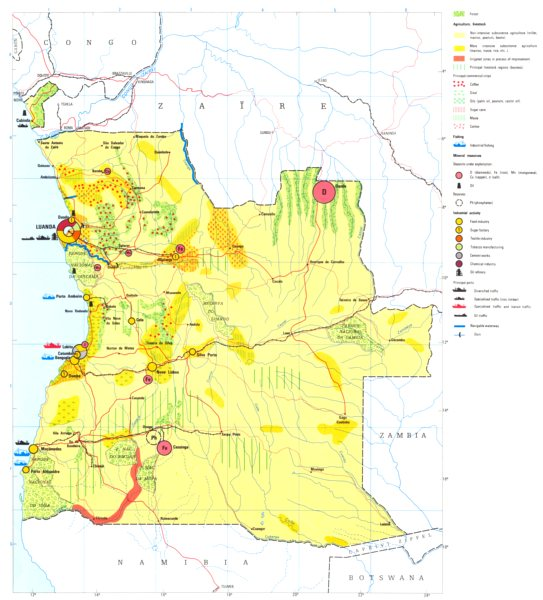 Associate Product ANGOLA. Angola;  Economy industry trade farming agriculture resources 1973 map