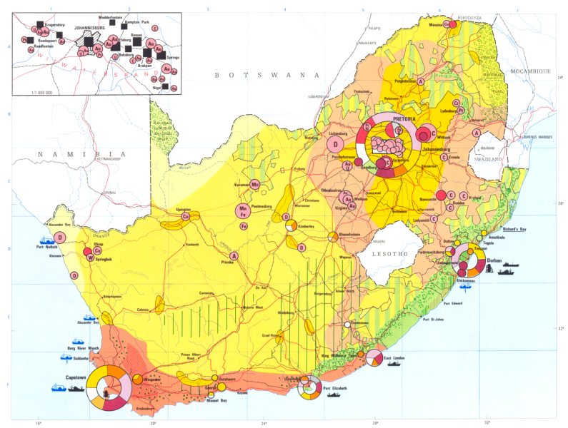 Associate Product SOUTH AFRICA. Economy industry trade farming agriculture resources 1973 map