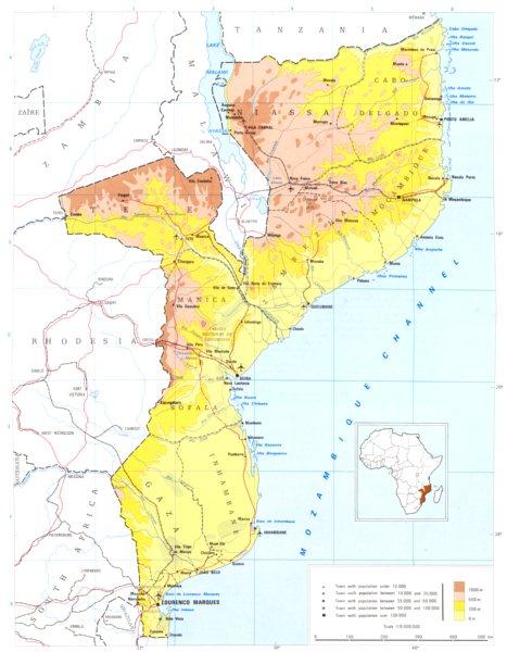 MOZAMBIQUE. Mozambique;  1973 old vintage map plan chart