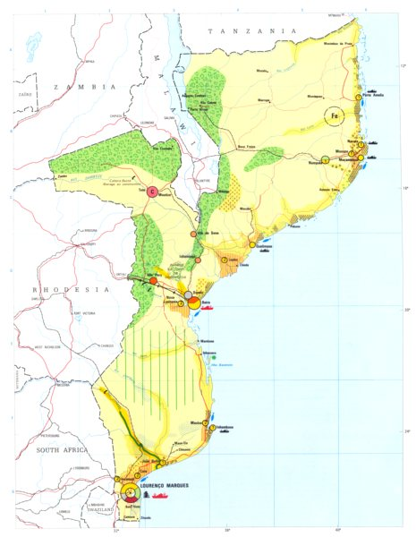 Associate Product MOZAMBIQUE. Economy industry trade farming agriculture resources 1973 old map