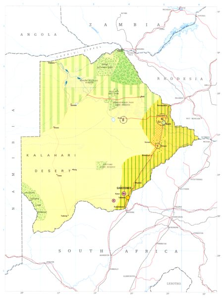 Associate Product BOTSWANA. Economy industry trade farming agriculture resources 1973 old map