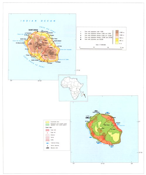 Associate Product REUNION ISLAND. Economy industry trade farming agriculture resources;  1973 map