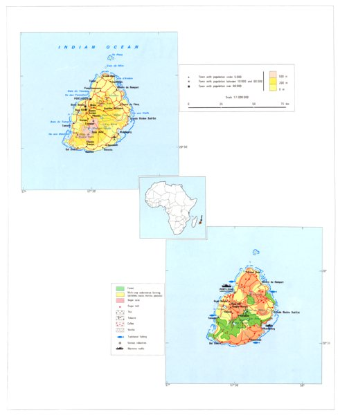 Associate Product MAURITIUS. Economy industry trade farming agriculture resources 1973 old map