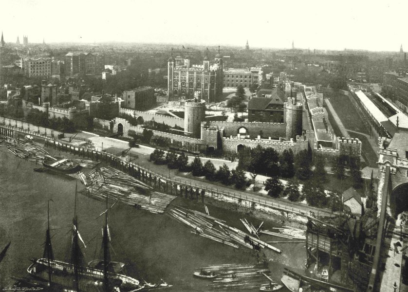 Associate Product LONDON. The Tower- Panoramic view from the Tower Bridge 1896 old antique print