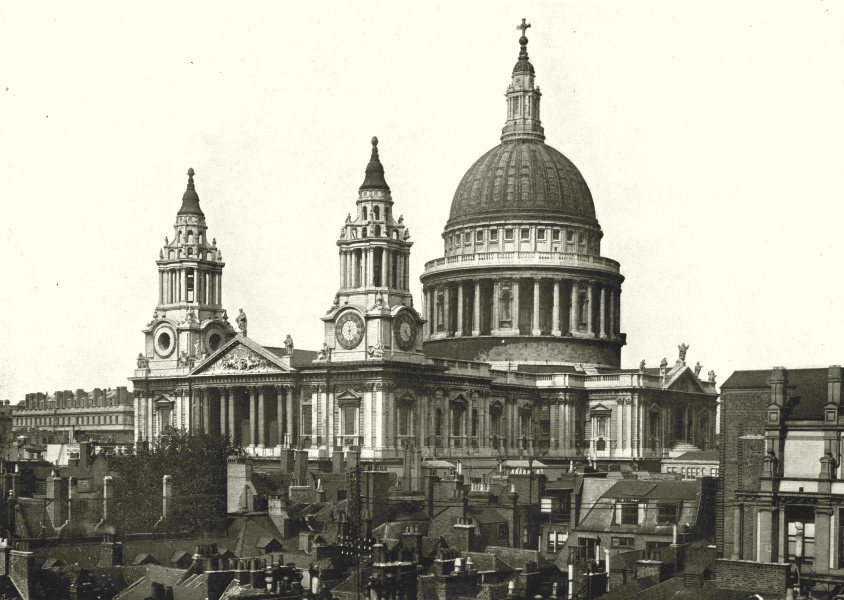 Associate Product LONDON. St Paul's Cathedral- Exterior View 1896 old antique print picture