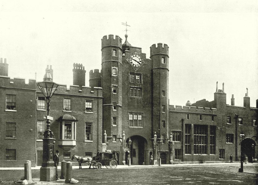 Associate Product LONDON. St Jamess Palace- From the Corner of St Jamess Street 1896 old print