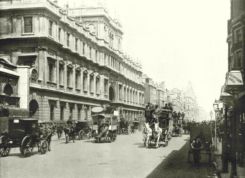 Associate Product LONDON. Piccadilly- Burlington House 1896 old antique vintage print picture
