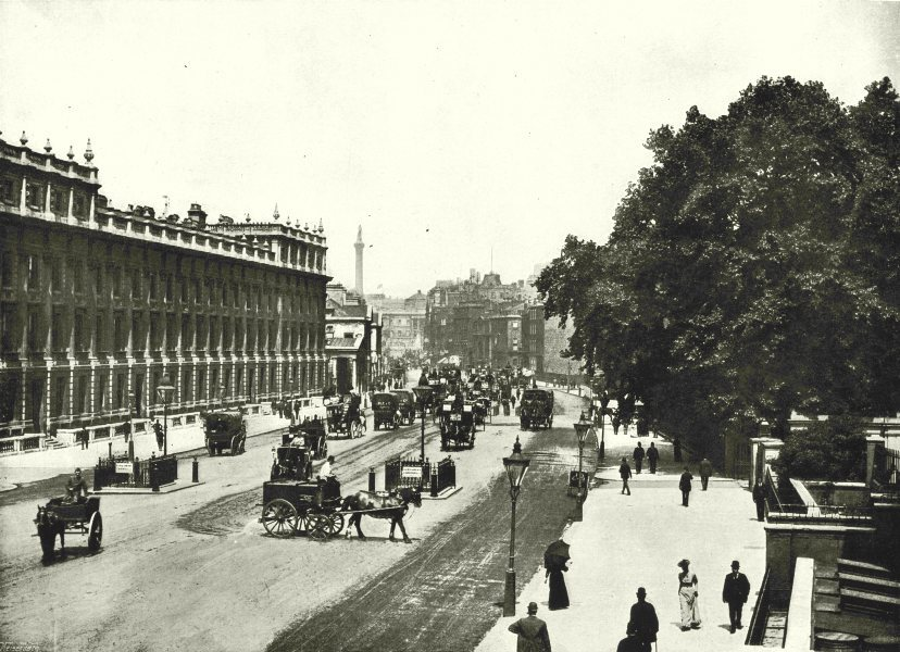 Associate Product LONDON. Whitehall- Looking North. The Treasury Buildings on the left 1896