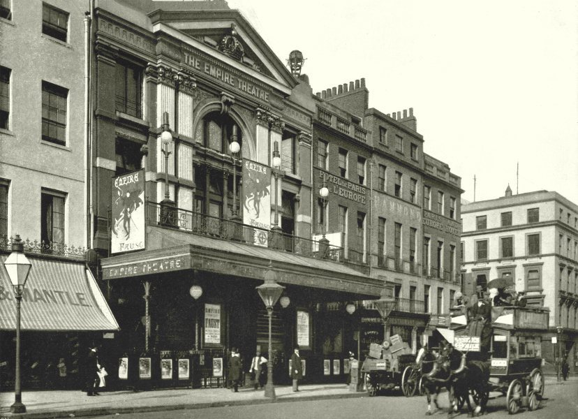 Associate Product LONDON. Empire Theatre- From the Coventry Street corner of the Gardens 1896