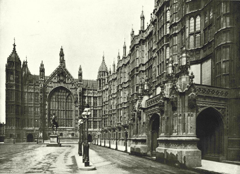 Associate Product LONDON. Houses of Parliament- Peers entry & Statue Richard Coeur de Lion 1896