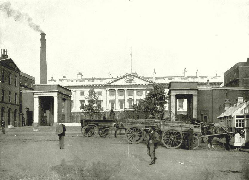 Associate Product LONDON. The Royal Mint- From the Tower Bridge Approach 1896 old antique print