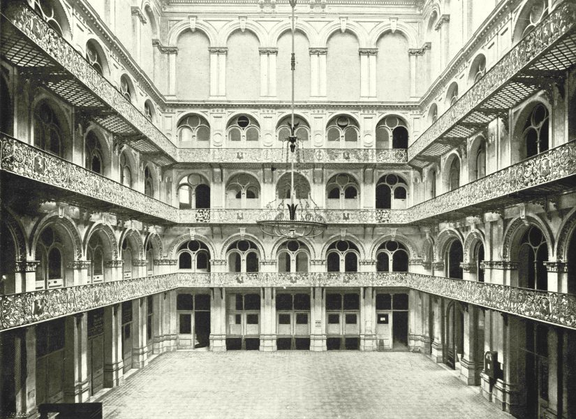 Associate Product LONDON. The Hop exchange- Interior of the great Hall 1896 old antique print