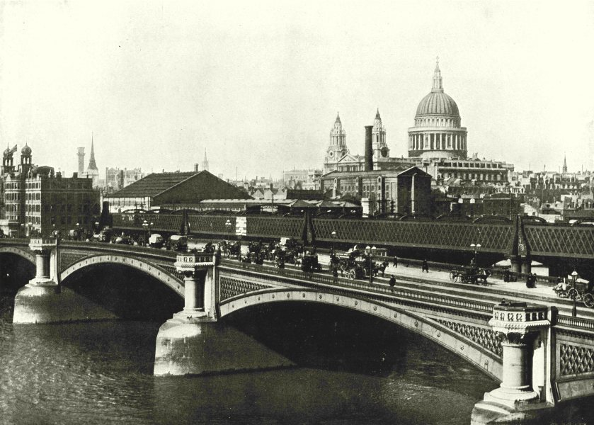 Associate Product LONDON. Blackfriars Bridge- Showing St Paul's Cathedral 1896 old antique print