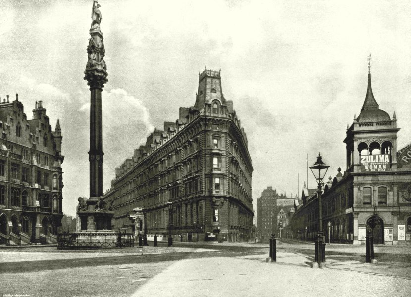 Associate Product LONDON.Westminster Palace Hotel-Column,Queen Anne's Mansion Royal Aquarium 1896
