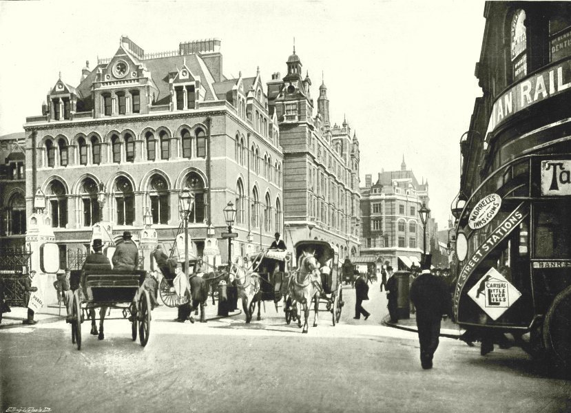 Associate Product LONDON. Liverpool- Street- From the Corner of New Broad street 1896 old print