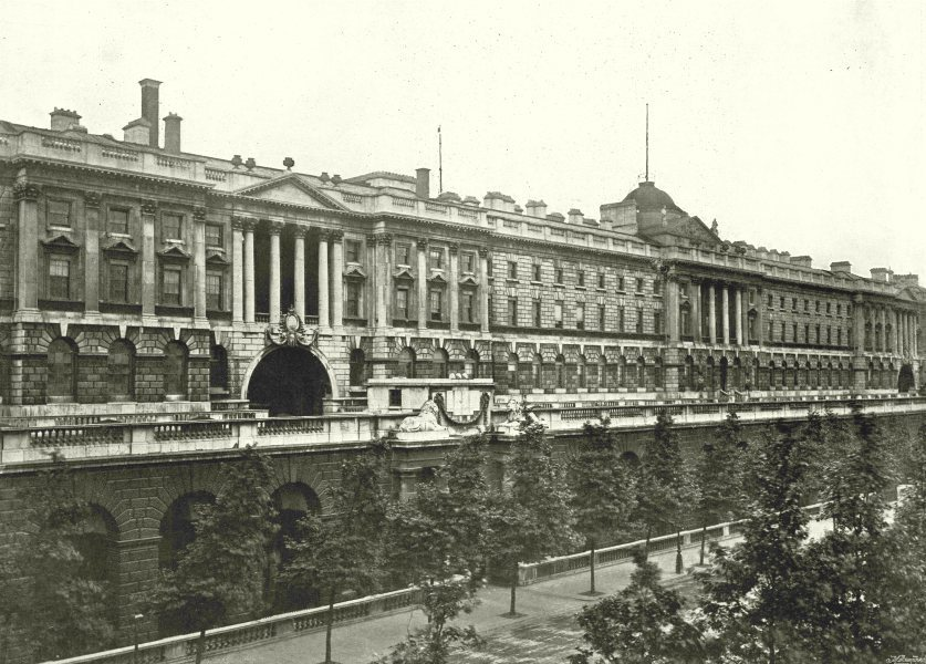 Associate Product LONDON. Somerset House- The River Front, from Waterloo Bridge 1896 old print