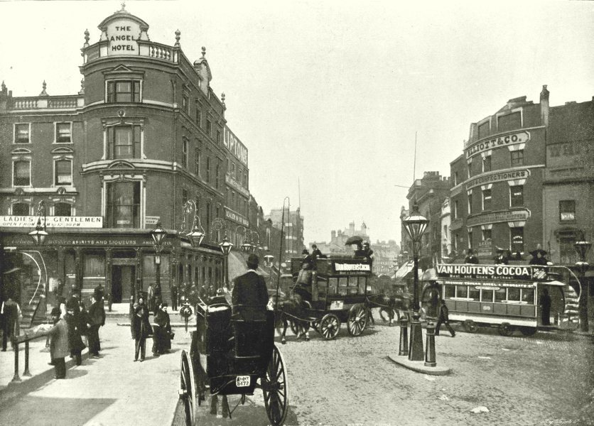 Associate Product LONDON. The Angel Hotel- General View 1896 old antique vintage print picture