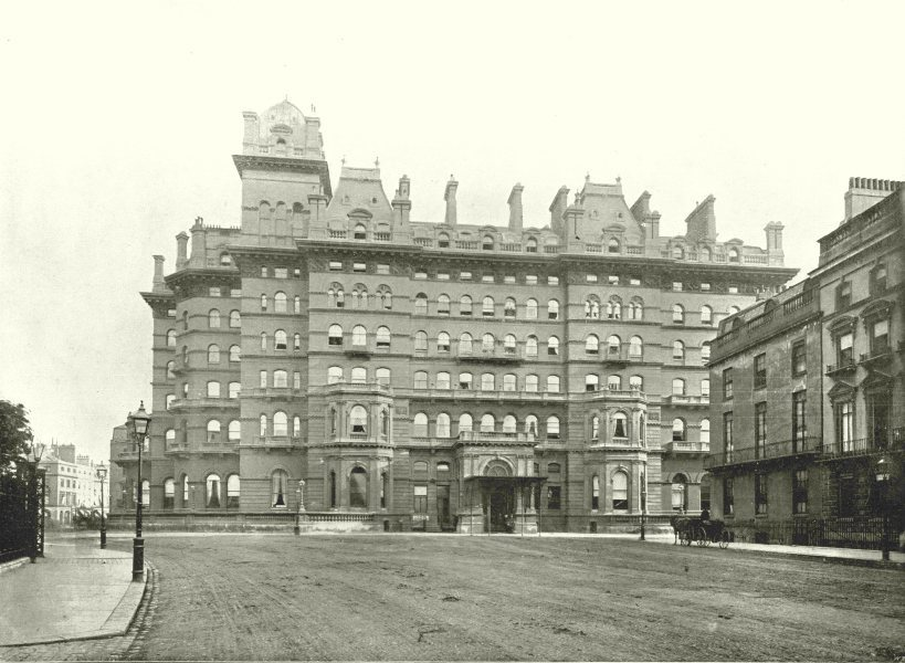 Associate Product LONDON. The Langham Hotel- From Portland Place 1896 old antique print picture