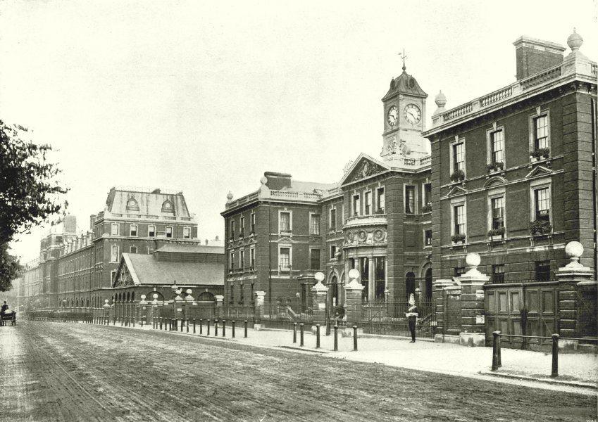 Associate Product LONDON. Knightsbridge Barracks- The Barracks 1896 old antique print picture