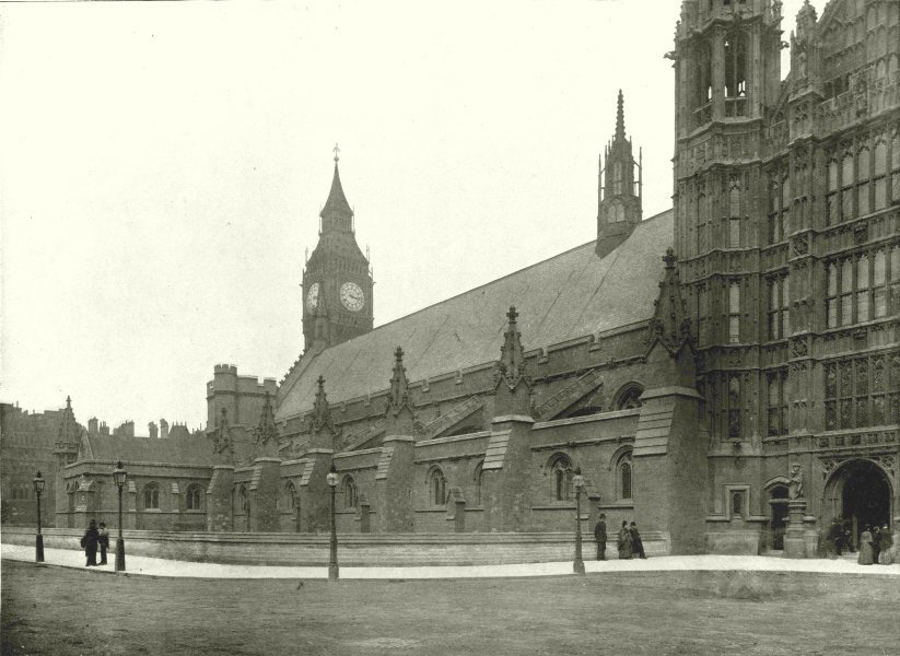 Associate Product LONDON. Houses of Parliament- Westminster Hall & Public entry 1896 old print