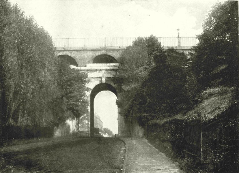 LONDON. Highgate Archway- From the road below 1896 old antique print picture