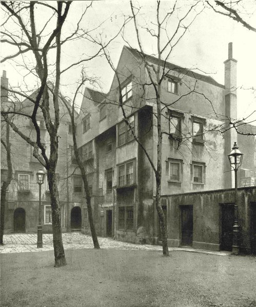 Associate Product LONDON. Barnard's Inn- The Courtyard 1896 old antique vintage print picture