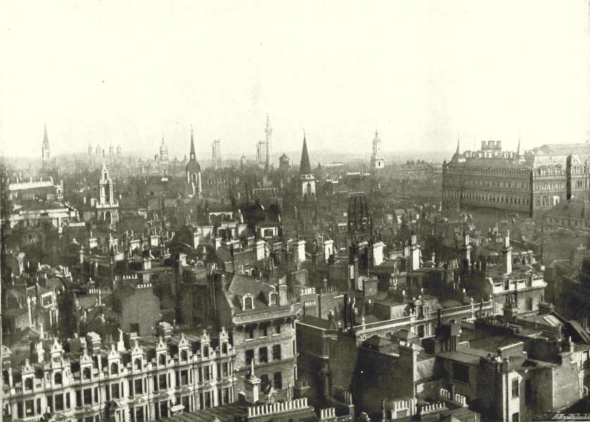 Associate Product LONDON. Bird's- Eye view of London- Looking South- east, from Bow Church 1896