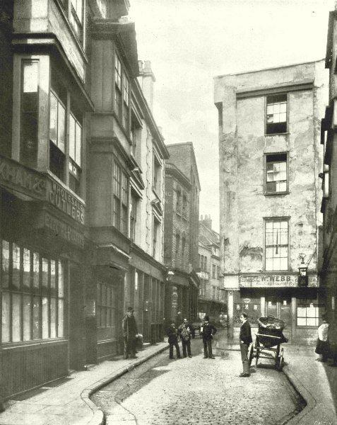 LONDON. Cloth Fair- A Quaint bit of old London 1896 antique print picture
