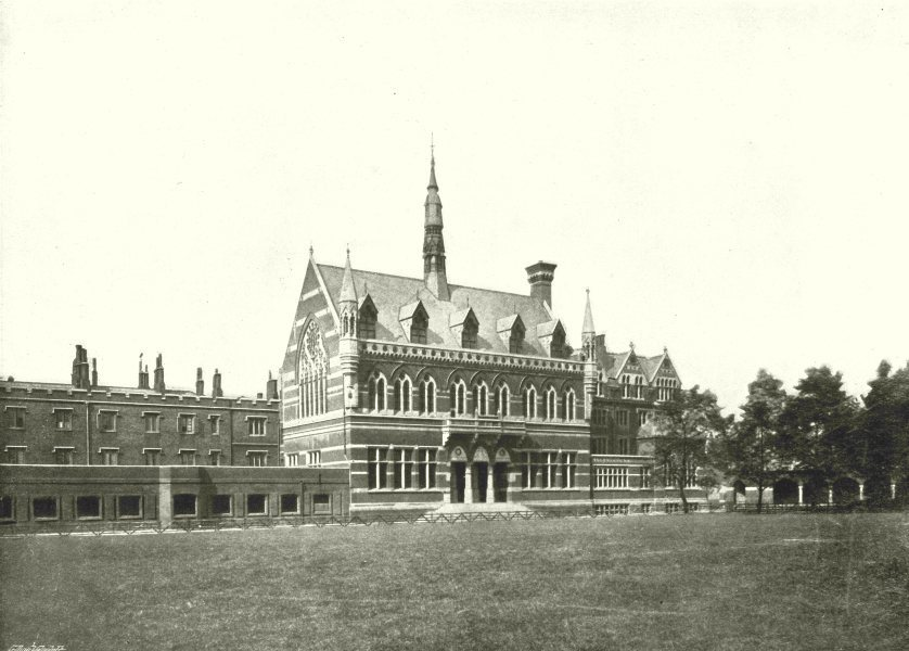Associate Product LONDON. Merchant Taylors School- Exterior view of the Buildings 1896 old print