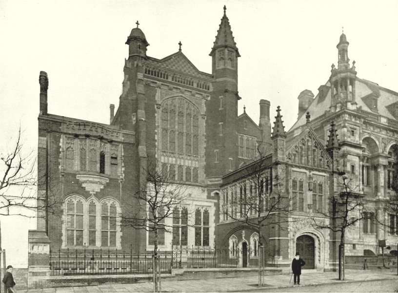 Associate Product LONDON. Thames Embankment- Sion College 1896 old antique vintage print picture
