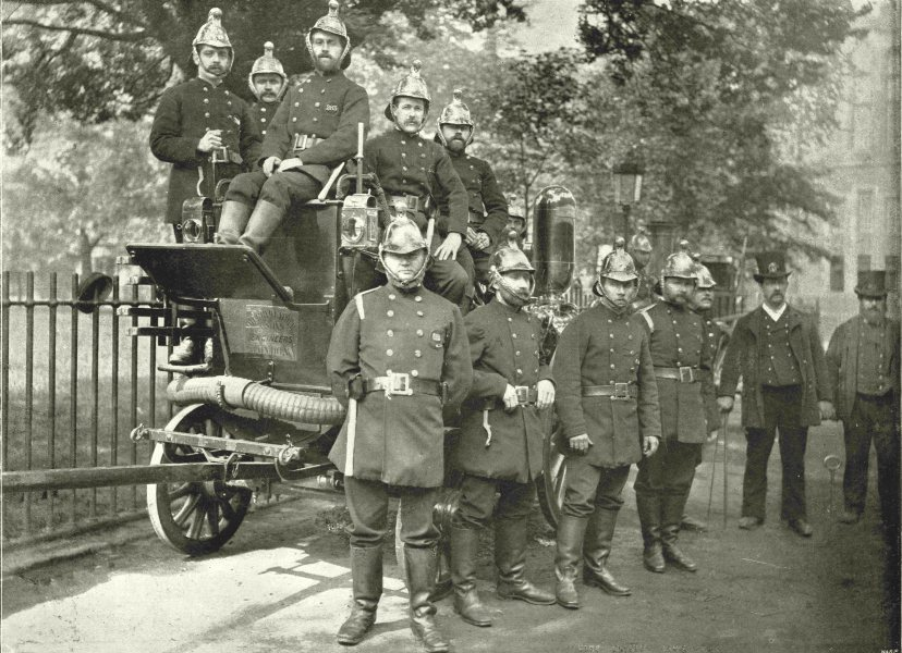 Associate Product LONDON. The Fire Brigade- Group of Firemen, with Engine and Turncocks 1896